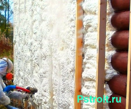 Thermal insulation of a wooden house with polyurethane foam