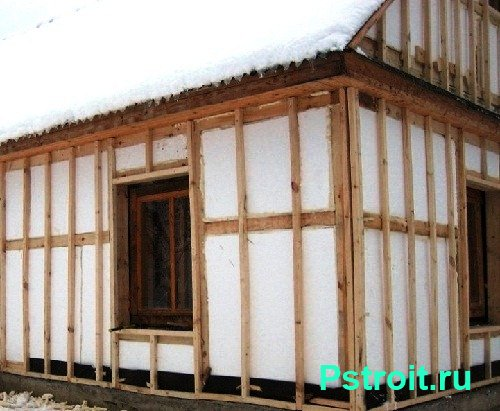 Облицовка каркасных домов пенопластом